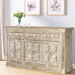 Palazzo Rustic Solid Wood Studded Door 3 Drawer Large Sideboard