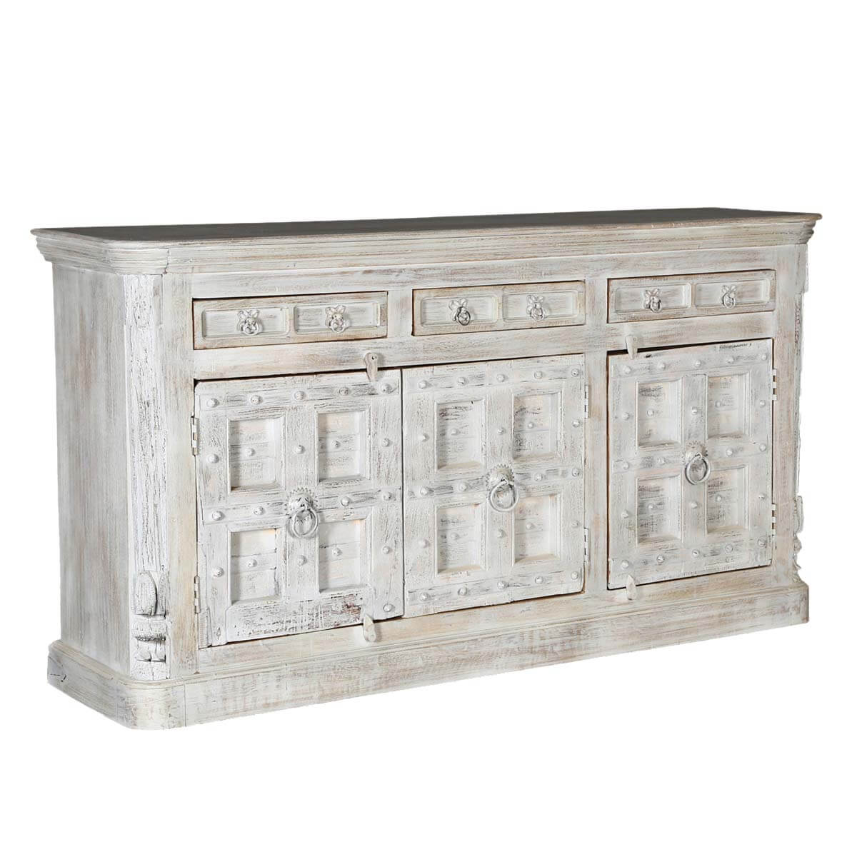 Palazzo Rustic Solid Wood 3 Drawer Large Sideboard Cabinet