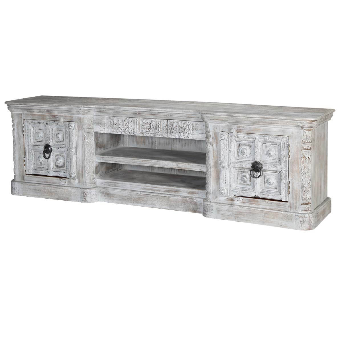 "Palazzo 91"" Light Grey 2-Door Solid Wood Media Console Cabinet"