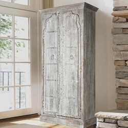 Gothic Winter White Washed Solid Reclaimed Wood Armoire With Shelves