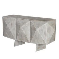 Modern Geometric Mango Wood Standing TV Media Console Furniture