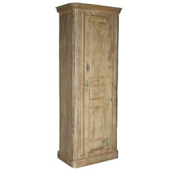 Milford Reclaimed Wood Distressed Winter White Tall Linen Cabinet
