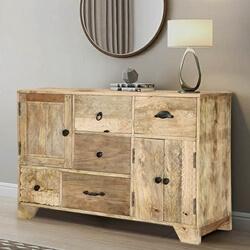 Modern Handcrafted Mango Wood 5 Drawer Rustic Sideboard Cabinet