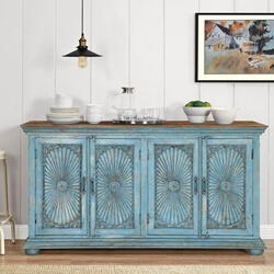 Sky Blue Starburst Mango Wood Large Sideboard Cabinet