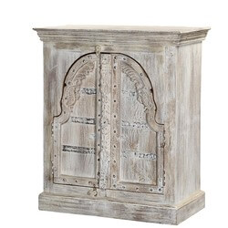 Talbot Winter White Gothic Reclaimed Wood Arched Door Storage Cabinet