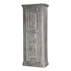 Carroll Mango & Reclaimed Wood Rustic Tall Narrow Gray Armoire