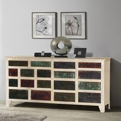 Impressionist Brick Wall Mango & Reclaimed Wood 18 Drawer Chest