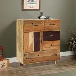 Dessau Modern Solid Wood  5 Drawer Rustic Bureau Chest