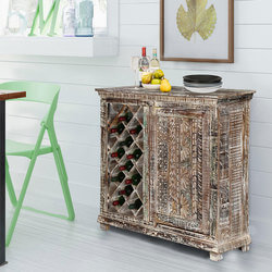 Hand Painted Distressed Solid Wood Rustic Bar Cabinet with 12 Bottle Holders