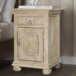 Corbeil Rustic Reclaimed Wood Single Door 1 Drawer Nightstand
