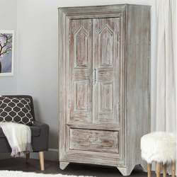 Aviston Solid Wood Distressed Finish Gray Armoire w Shelves And Drawer