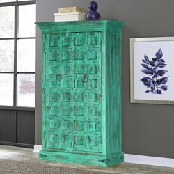 Ivy Distress Finish Rustic Reclaimed Wood Tall Storage Cabinet Armoire