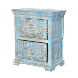 "Tangier 30"" Light Blue 2-Drawer Solid Wood Storage Nightstand"