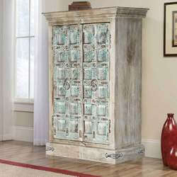 Turquoise Trail Distressed Rustic Solid Wood Accent Cabinet Armoire