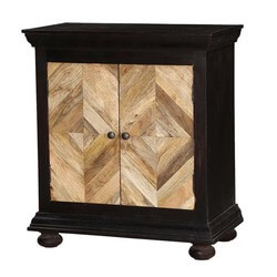 Parquet Diamond Mango Wood Double Door Storage Cabinet