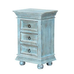 Oklahoma Farmhouse Mango Wood Blue 3-Drawer Nightstand