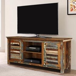 Appalachian Rustic Reclaimed Wood Shutter Door Media Cabinet