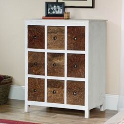 Miramar Mango Wood Handcarved 9 Square Drawers Accent Chest