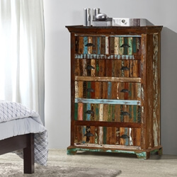 Rustic Rainbow Reclaimed Wood 5-Drawer Dresser
