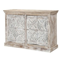 Willamette Rustic Mango Wood Trestle Design 2 Door  Buffet Cabinet