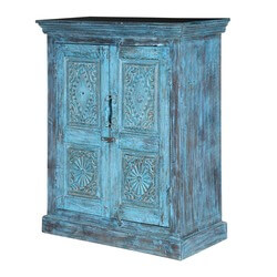 Tangier Rustic Turquoise Solid Wood 2 Door Buffet Sideboard Cabinet