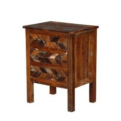 "Turquoise Trail 20"" Herringbone Rustic 4-Drawer Nightstand"