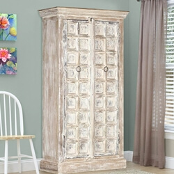 Millsboro Distress Solid Reclaimed and Mango Wood Tall Storage Cabinet
