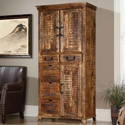 Willamette 3 Door Solid Mango Wood Armoire Cabinet With Drawers