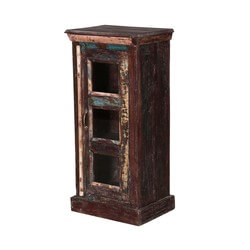 """Turquoise Trail 38"""" Rustic Glass Door Nightstand Storage Table"""