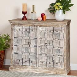 Cleveland Rustic Reclaimed Wood Panel 2 Door Buffet Cabinet