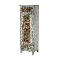 Casnovia Wooden Mosaic Inlay Reclaimed Wood Single Door Rustic Armoire