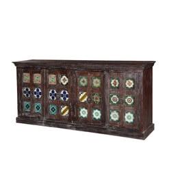Rosen Tile Medallion Rustic Reclaimed Wood 4 Door Large Buffet Cabinet