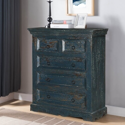 Midnight Blue Modern Farmhouse Mango Wood 5 Drawer Vertical Dresser