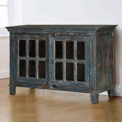 Midnight Modern Distressed Mango Wood Glass Door Storage Cabinet