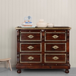 Georgia Traditional Brass Inlay Accented 6 Drawer Double Dresser