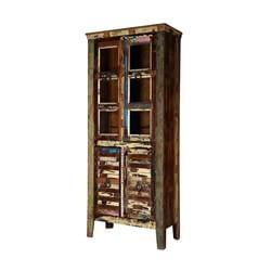 Keyser Rustic Reclaimed Wood Glass Door Display Cabinet