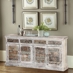 Delmonte Rustic Reclaimed Wood 4 Drawer Large Sideboard Cabinet