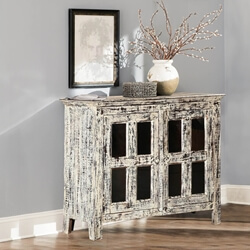 Fellsmere Distressed Mango Wood Glass Door Rustic Buffet Cabinet