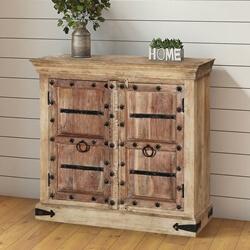 Arkoe Handcrafted Gothic Gates Mango Wood Storage Cabinet