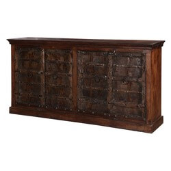 Antioch Handcrafted Gothic Gates Reclaimed Mango Wood Large Buffet