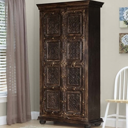 Chartres Gothic Dark Brown Solid Wood Tall Storage Cabinet Armoire