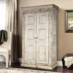 Dakota Unique Handcarved Rustic Solid Wood Large Armoire With Shelves