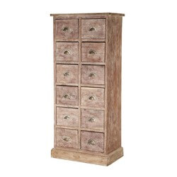 Rustic Apothecary Mango Wood 12 Drawer Pillbox Tower Chest