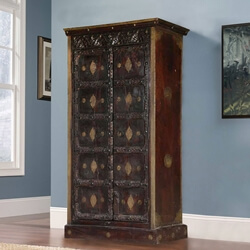 Shawano Solid Reclaimed Wood Brass Inlay Antique Tall Storage Cabinet