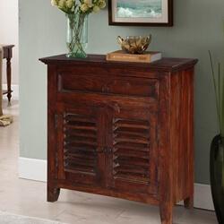 Esto Pioneer Rustic Mango Wood Shutter Door 1 Drawer Storage Cabinet