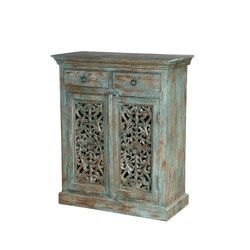 Midday Forest Mango Wood Hand Carved 2 Drawer Storage Cabinet