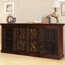 Classic Gothic Gates Mango & Reclaimed Wood Large Buffet Cabinet