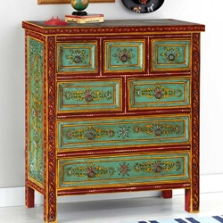 Green Garden Hand Painted Mango Wood Chest of 7 Drawers
