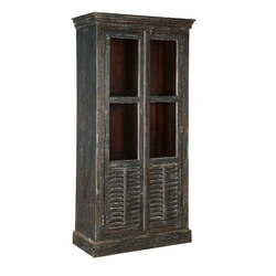 Perrine Freestanding Mango Wood Display Cabinet Armoire With Shelves
