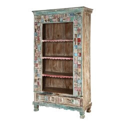 Pastel Mosaic Reclaimed Wood Standing Display Cabinet w Drawers